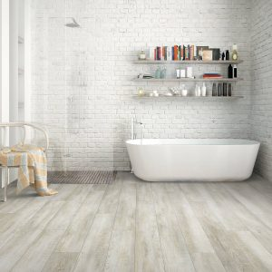 Hardwood flooring of bathroom | Pucher's Decorating Centers